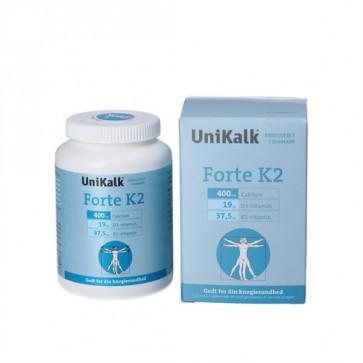 Unikalk Forte K2 Forte  kosttilskud indeholder 400 mg calcium (kalk), 19 µg D-vitamin og 37,5 µg K2-vitamin pr. tablet 140 stk.