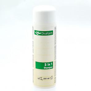 Diafarm 2 i 1 shampoo til hund eller kat 250 ml.