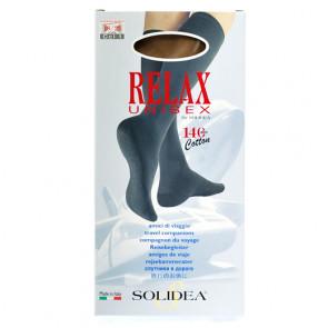 Solidea Relax Unisex 70 den.  let kompressions knæstrømpe til damer og herrer sort Large 1 par