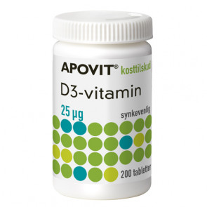 Apovit D3 25 mikg. D-Vitamin 200 stk.