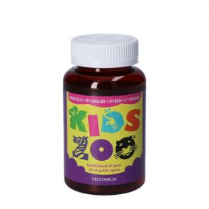 Kids Zoo Propolis + Hyldebær + Hyben + C-vitamin -  kosttilskud til børn 1-10 år 60 stk.