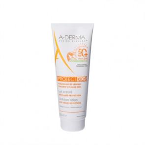 A-Derma Protect Kids SPF 50+ sollotion med meget høj beskyttelse (SPF 50+) 250 ml.