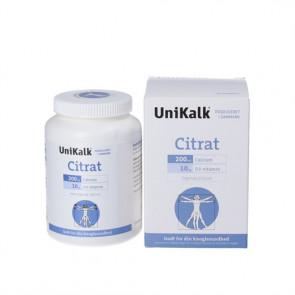 Unikalk Citrat kostilskud indeholder 200 mg calcium (kalk) og 10 µg D-vitamin pr. tablet 130 stk.