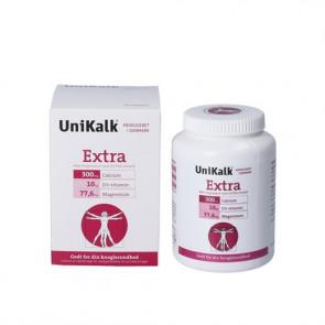 Unikalk Extra Tabletter kostilskud indeholder 300 mg calcium (kalk), 10 µg D-vitamin og 77,6 mg magnesium pr. tablet 140 stk.