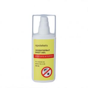 Apotekets Insektspray DEET 40% Stop myg og flåter 100 ml.