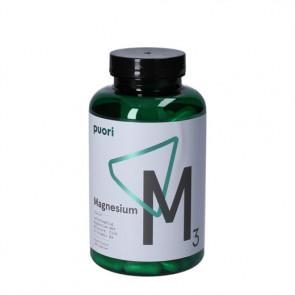 Puori Magnesium M3 er et kosttilskud med letoptagelig magnesium, æblesyre, zink og vitamin B6 180 stk.