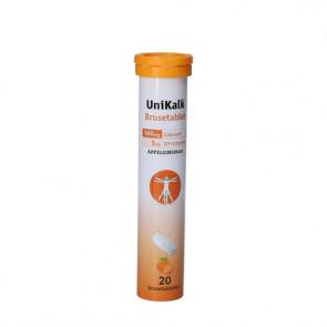 UniKalk Brusetabletter kostilskud indeholder 500 mg calcium (kalk) og 5 µg D3-vitamin pr. brusetablet appelsinsmag 20 stk.